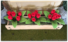 Window Box with red tulips - Miniature
