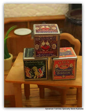 Dollshouse miniature vintage metal biscuit boxes