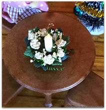 White rose floral centrepiece for table Sylvanian Families size