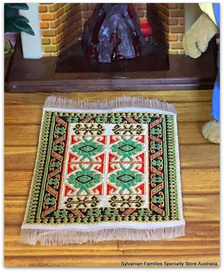 Dollshouse miniature Turkish woven Persian rug carpet for Sylvanian Families size
