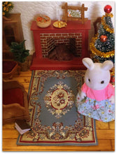 Dollshouse miniature Victoria Blue rug for Sylvanian Families