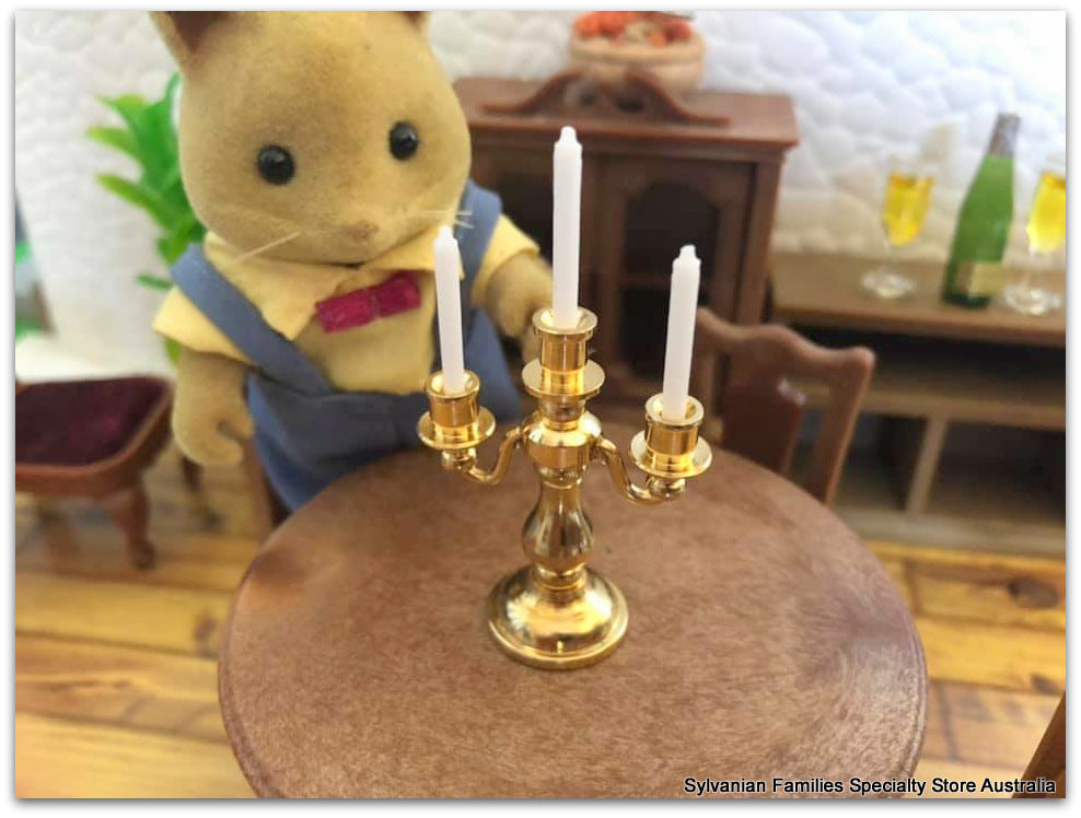 Sylvanian Families honey fox with candelabra