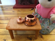 Sylvanian Families with copper kettle dollshouse miniature