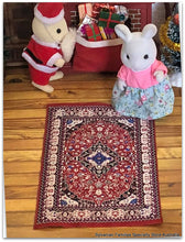 Sylvanian Families on miniature carpet oriental rug living room Christmas