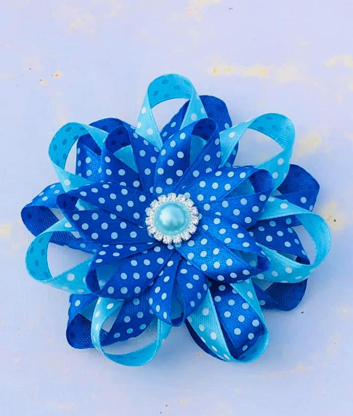 School Hair clip bllue on blue