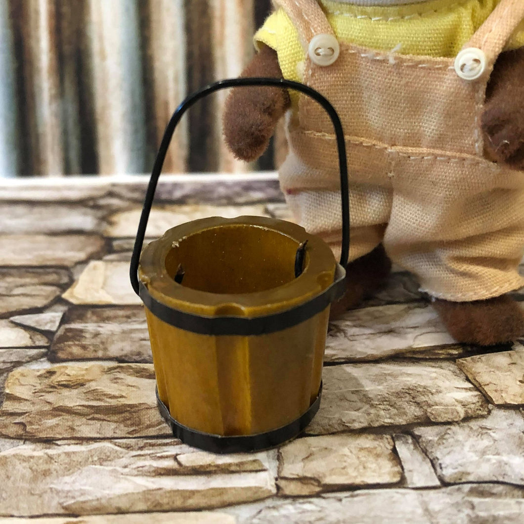 Dollhouse miniature wooden pail bucket
