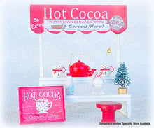 Miniature handcrafted Hot Cocoa stall winter doll size