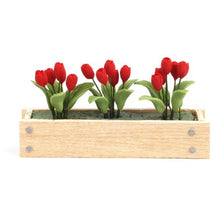 Dollshouse miniature window box with red tulips