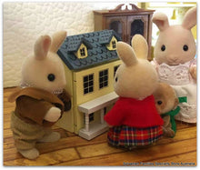 Sylvanian Families with yellow Dollshouse 12th scale miniature
