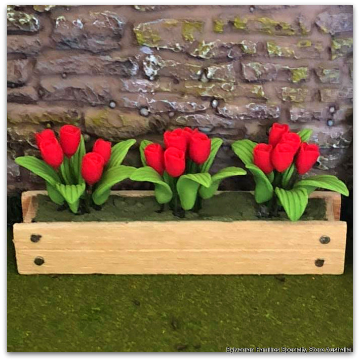 Dollshouse miniature red tulips in window box