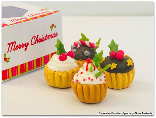 Miniature Christmas cupcakes in a festive box