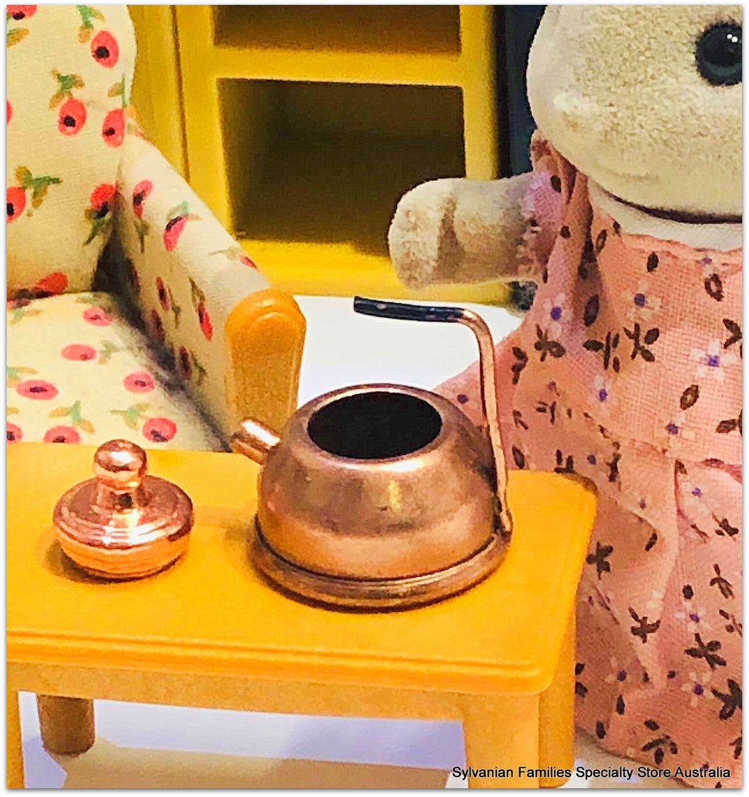 Sylvanian Families rabbit and copper kettle