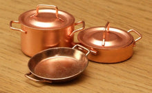 Dollshouse miniature casserole copper pots skillet