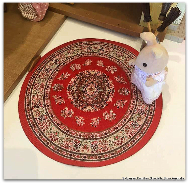 Circle Turkish Rug - Red- 19cm diameter
