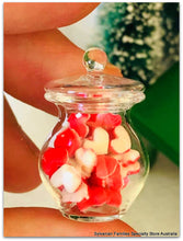 Dollshouse miniature valentine heart sweets glass jar