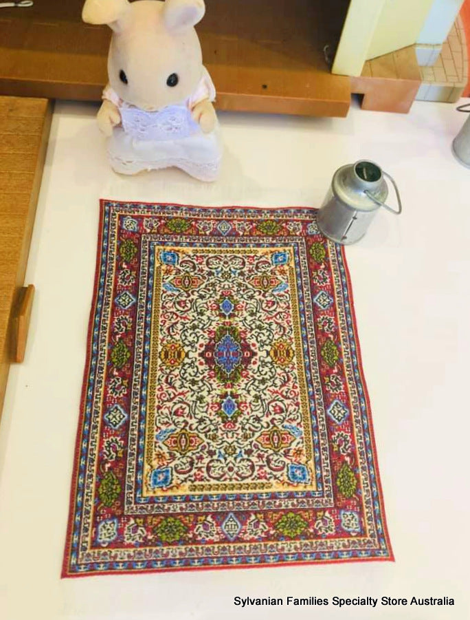Sylvanian families home decorated red turkish rug