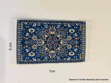 Dollshouse miniature small blue rug carpet