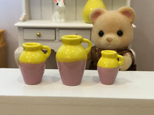 Yellow and Pink Vases x 3
