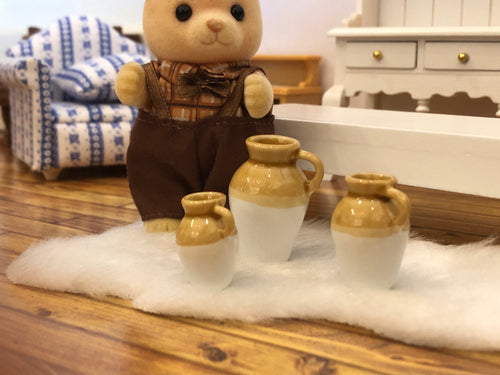 Stoneware vases dollhouse miniature rustic kitchen