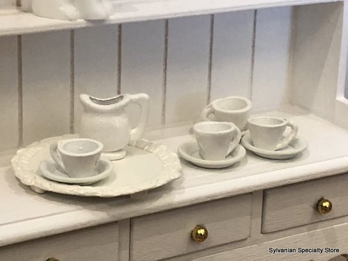 White Tea set with tray - Miniature