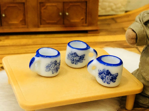 Dollhouse miniature mugs blue white ceramic