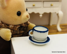 Cup and Saucer x 1 - Enamelware-style - Miniature