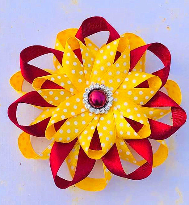 Maroon Yellow school hair accesories