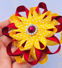 Hair Clip - Maroon and Yellow