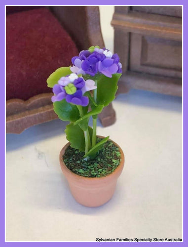Miniature dollshouse purple flower plant potplant