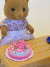 Miniature Dollshouse cake pink roses suitable for Sylvanian Families Fox