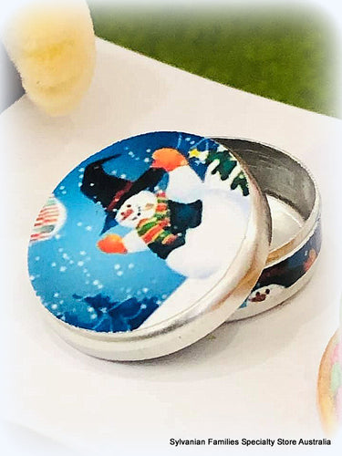 Miniature Dollshouse Christmas snowman tin