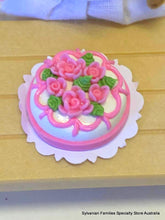 Miniature Dollshouse cake pink roses suitable for Sylvanian Families