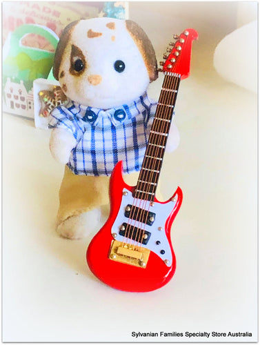 Sylvanian Families Music with red washburn guitar
