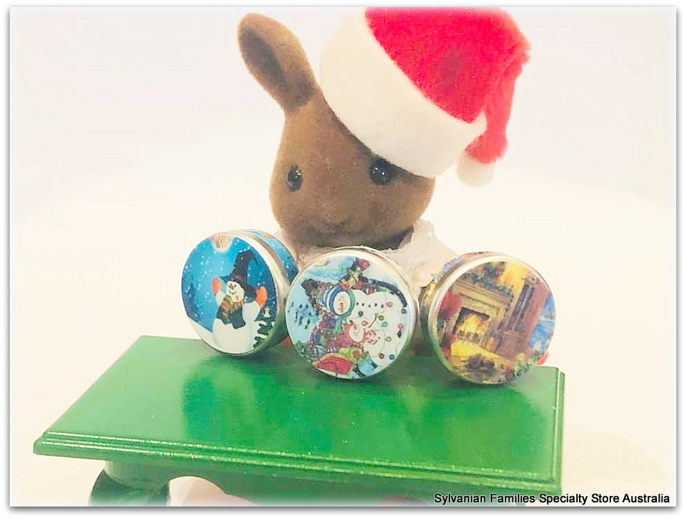 Sylvanian Families brown rabbit christmas cookie tins vintage