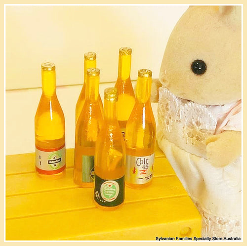 Sylvanian Families and miniature wine bottles beer bottles