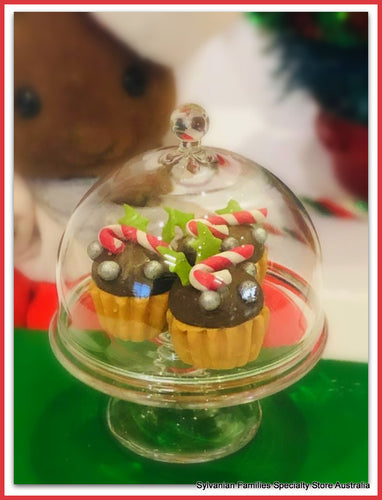 Dollshouse miniature Glass cloche cake stand Christmas cupcakes
