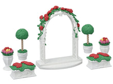 Sylvanian Families romantic archway with roses and topiary trees