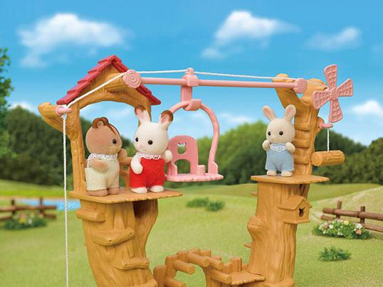 Sylvanian Families Baby Ropeway Park with baby rabbit