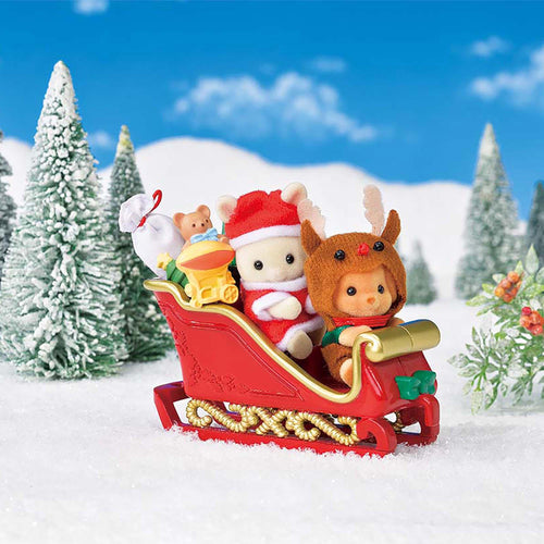 Sylvanian Families Limited edition Christmas set with 2 adorable babies in Santa Claus and reindeer costumes Set includes a sleigh, a present sack, toys and gift boxes