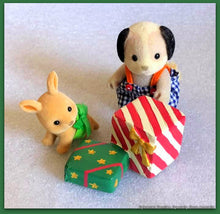 Sylvanian Families enjoying Christmas morning