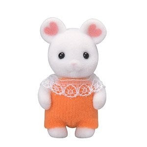 Sylvanian Families Marshmallow Mouse Baby With Crib
