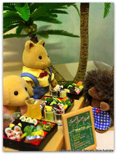Sylvanian Families beach party coconut palms sushi juice