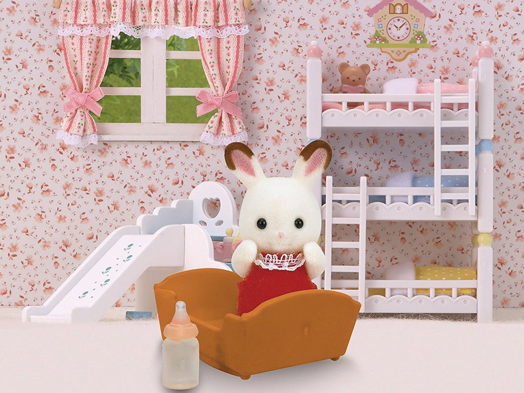 Sylvanian Families Chocolate Rabbit Baby with crib and bottle - SF 5062
