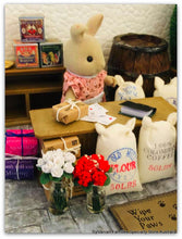 Sylvanian Families with Sacks of grain salt flour coffee