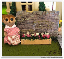 Sylvanian FAmilies mother Meerkat in garden, window box, flowers planters