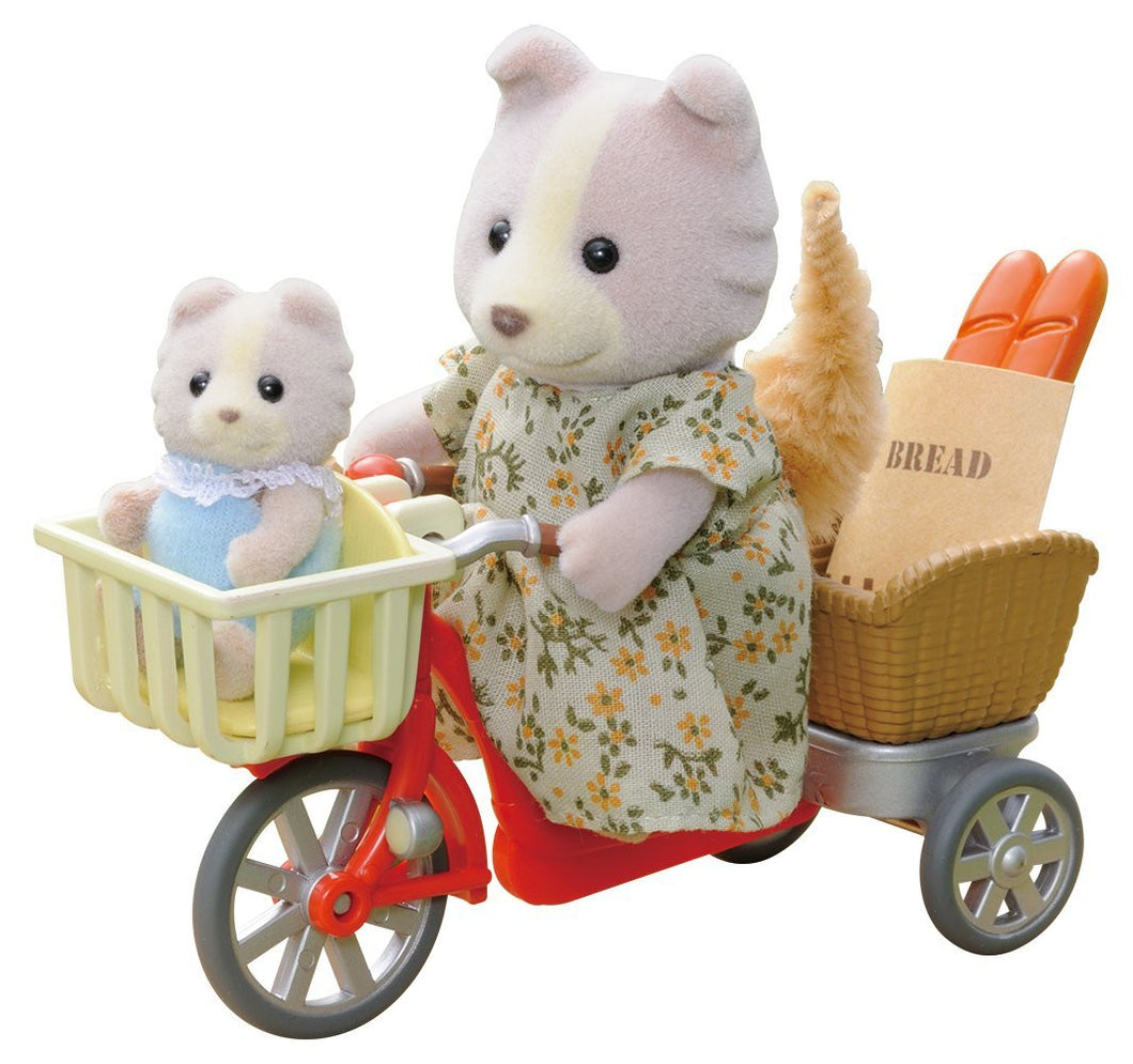 Sylvanian Families Cycling with Mother set - With Farthing Dog Mother and baby - SF 4281