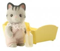 Sylvanian Families Gray Striped Cat Baby