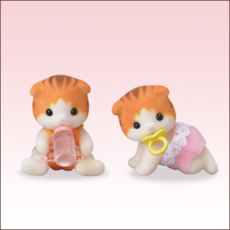 Sylvanian Families Maple Scottish Fold Cat twin babies
