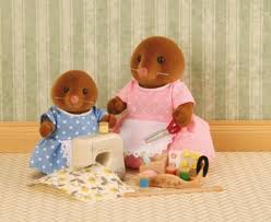 sylvanian families mole vole sewing mother and daughter set available