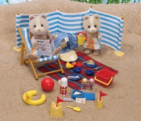Sylvanian Farthing Dog Maroon dogs seaside set